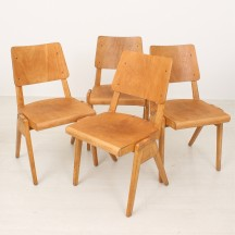 set of 4 50's vintage stacking chairs