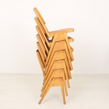 set of 6 50's vintage stacking chairs