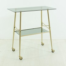 50's brass serving trolley