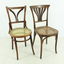 antique set of 2 bended tavern chairs