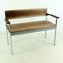 vintage chrome / walnut bench