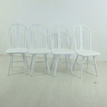 set of 4 white vintage Windsor chairs, ca 60's