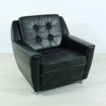 60's vintage black leather armchair