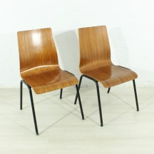 set of 2 wood/metal stacking chairs