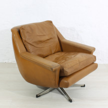 1970s mid-century leather lounge armchair