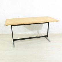antique oak dining table with Vitra metal base